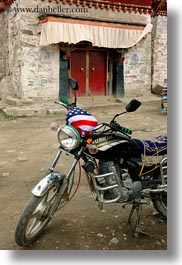 asia, flags, motorcycles, sunkin, tan druk temple, tibet, vertical, photograph
