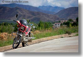 asia, horizontal, motorcycles, tibet, yarlung valley, photograph