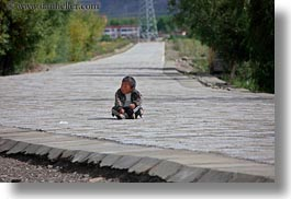 asia, boys, horizontal, roads, tibet, toddlers, yarlung valley, photograph