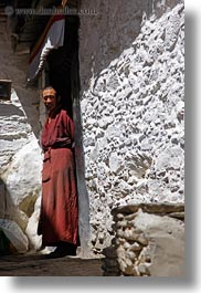 asia, doors, monks, riwodechen monastery, tibet, vertical, yarlung valley, photograph