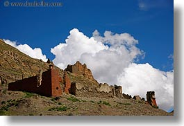 architectural ruins, asia, clouds, horizontal, mountains, nature, riwodechen monastery, sky, tibet, yarlung valley, photograph