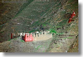 architectural ruins, asia, horizontal, mountains, riwodechen monastery, tibet, yarlung valley, photograph