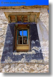 asia, old, riwodechen monastery, tibet, vertical, windows, yarlung valley, photograph