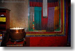 asia, candles, colorful, horizontal, pots, riwodechen monastery, silk, tibet, yarlung valley, photograph