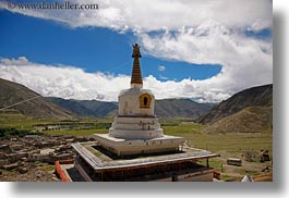 asia, clouds, horizontal, nature, riwodechen monastery, sky, stupas, tibet, yarlung valley, photograph