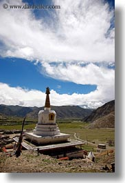 asia, clouds, nature, riwodechen monastery, sky, stupas, tibet, vertical, yarlung valley, photograph
