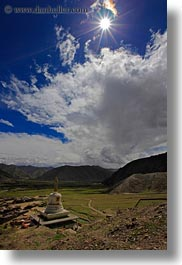 asia, clouds, nature, riwodechen monastery, sky, stupas, sun, tibet, vertical, yarlung valley, photograph
