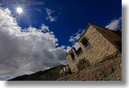 asia, buildings, clouds, horizontal, nature, riwodechen monastery, sky, sun, tibet, yarlung valley, photograph
