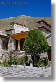 asia, facades, riwodechen monastery, temples, tibet, vertical, yarlung valley, photograph