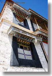 asia, riwodechen monastery, tibet, vertical, windows, yarlung valley, photograph