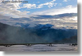 asia, bridge, clouds, horizontal, mountains, scenics, tibet, yarlung valley, photograph