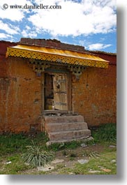 asia, awnings, doors, scenics, tibet, vertical, yarlung valley, yellow, photograph