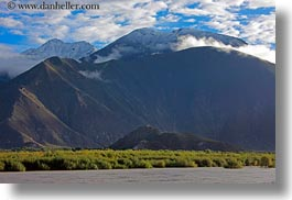 asia, grass, horizontal, mountains, scenics, snow, tibet, yarlung valley, photograph