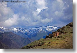 architectural ruins, asia, clouds, horizontal, mountains, scenics, tibet, yarlung valley, photograph