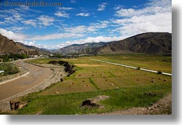 asia, farm, horizontal, mountains, rivers, scenics, tibet, yarlung valley, photograph