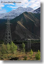 asia, mountains, scenics, telephones, tibet, vertical, wires, yarlung valley, photograph