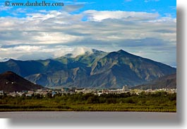 asia, horizontal, mountains, scenics, tibet, towns, yarlung valley, photograph