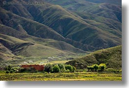 asia, buildings, horizontal, mountains, scenics, tibet, trees, yarlung valley, photograph