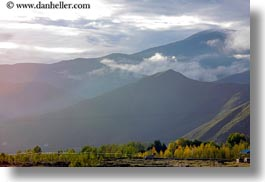 asia, horizontal, morning, mountains, scenics, tibet, trees, yarlung valley, photograph