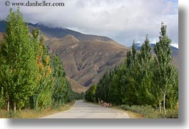asia, horizontal, mountains, roads, scenics, tibet, trees, yarlung valley, photograph