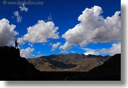 asia, clouds, hikers, horizontal, silhouettes, tibet, yumbulagang, photograph