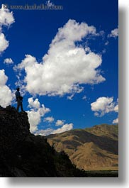asia, clouds, hikers, silhouettes, tibet, vertical, yumbulagang, photograph