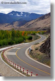asia, curved, landscapes, mountains, roads, tibet, vertical, yumbulagang, photograph