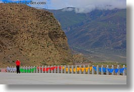 asia, colorful, flags, horizontal, kate, landscapes, tibet, yumbulagang, photograph