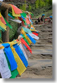 asia, flags, landscapes, paths, prayers, tibet, vertical, yumbulagang, photograph