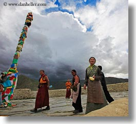 asia, asian, flags, horizontal, people, poles, prayers, tibet, walking, yumbulagang, photograph