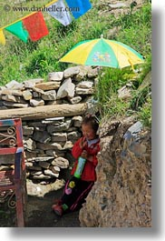 asia, asian, girls, people, tibet, toddlers, umbrellas, under, vertical, yumbulagang, photograph