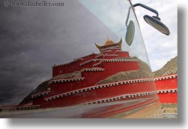 asia, asian, horizontal, reflections, roadside temple, style, temples, tibet, yumbulagang, photograph