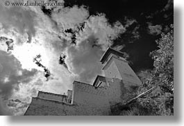 asia, asian, black and white, clouds, cumulus, glow, horizontal, lights, nature, palace, sky, style, sun, tibet, upview, yumbulagang, yumbulagang palace, photograph