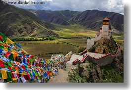 asia, asian, clouds, flags, horizontal, nature, palace, prayers, sky, style, tibet, yumbulagang, yumbulagang palace, photograph