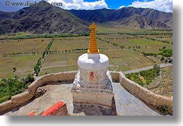 asia, asian, clouds, horizontal, landscapes, mountains, nature, sky, stupas, style, tibet, yumbulagang, yumbulagang palace, photograph