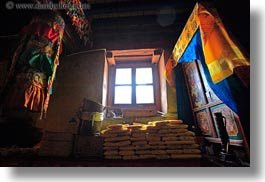 asia, bright, colorful, fabrics, glow, horizontal, lights, tibet, windows, yumbulagang, yumbulagang temple, photograph