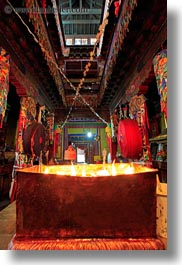 asia, candles, inside, temples, tibet, vertical, yumbulagang, yumbulagang temple, photograph