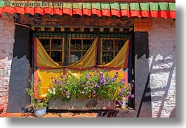 asia, colorful, flowers, horizontal, tibet, windows, yumbulagang, yumbulagang temple, photograph