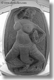 apsara, asia, black and white, breasts, cham art museum, danang, people, sculptures, stones, vertical, vietnam, womens, photograph