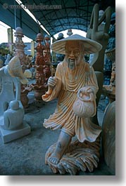 asia, chinese, danang, marble, marble artisans, men, old, sculptures, vertical, vietnam, photograph