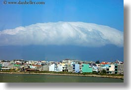 asia, clouds, danang, horizontal, over, towns, vietnam, photograph