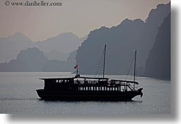asia, boats, ferry, ha long bay, haze, horizontal, mountains, nature, silhouettes, vietnam, photograph