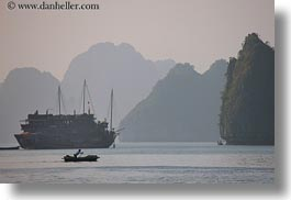 asia, boats, ha long bay, haze, horizontal, mountains, nature, rowing, silhouettes, small, vietnam, womens, photograph