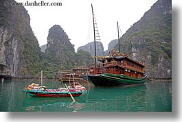 asia, boats, goods, ha long bay, horizontal, mountains, nature, selling, small, vietnam, womens, photograph