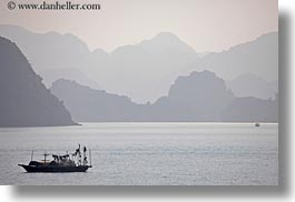 asia, boats, ha long bay, haze, horizontal, mountains, nature, silhouettes, small, small boats, vietnam, photograph