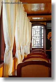 asia, boats, chairs, curtains, ha long bay, vertical, victory ship, vietnam, windows, photograph