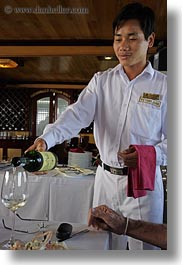 asia, asian, boats, ha long bay, men, people, serving, vertical, victory ship, vietnam, white, wines, photograph