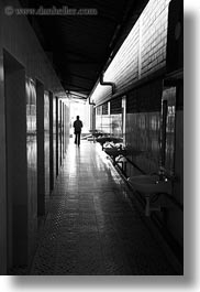 asia, black and white, ha long bay, hallway, silhouettes, vertical, vietnam, photograph