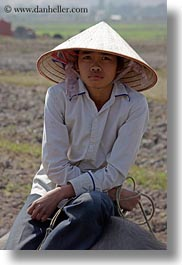 asia, asian, boys, conical, ha long bay, hats, people, vertical, vietnam, photograph