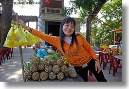 asia, asian, girls, ha long bay, horizontal, oranges, people, sweater, vietnam, photograph